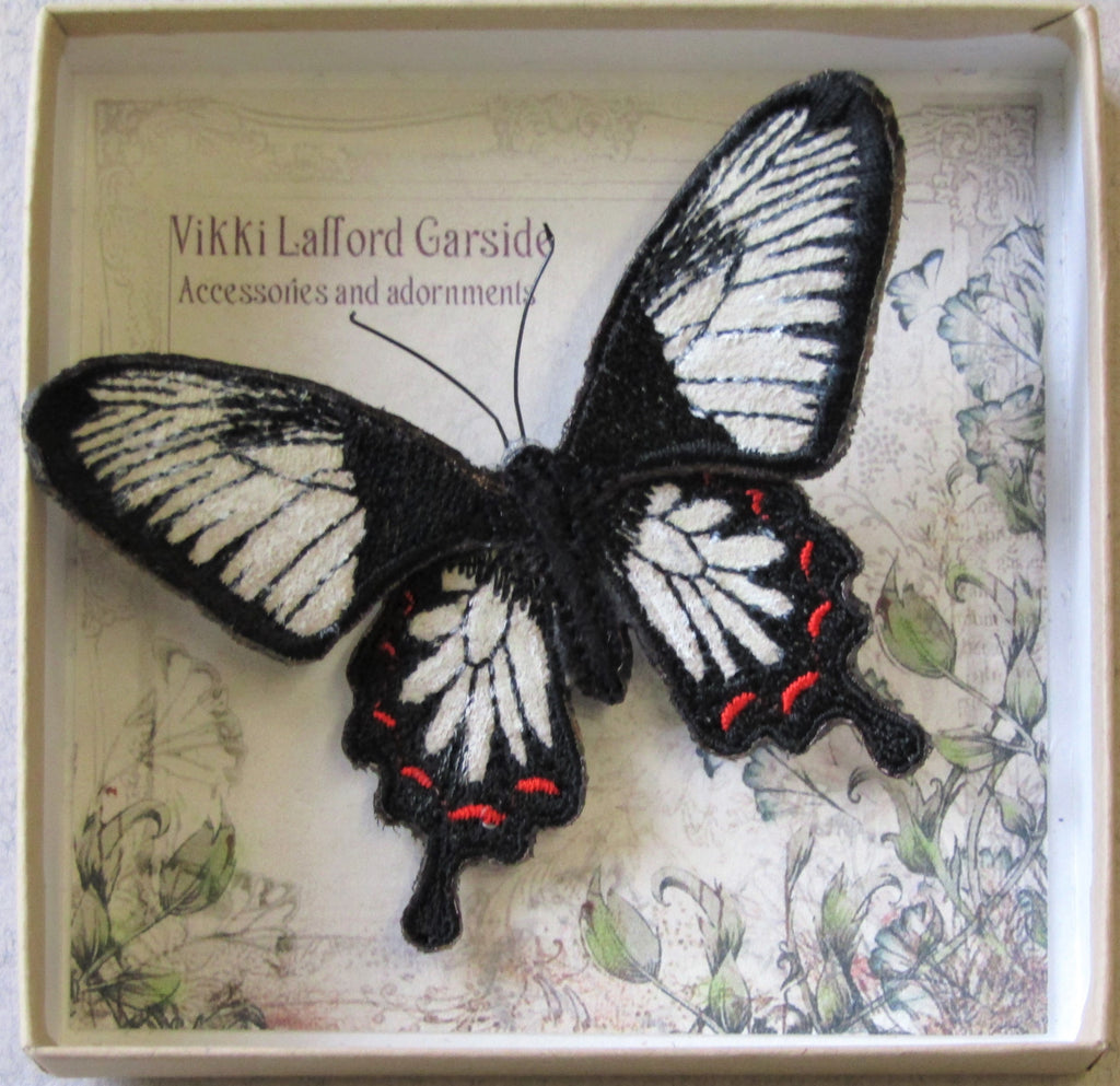 Ceylon Rose Butterfly, Embroidered Brooch.