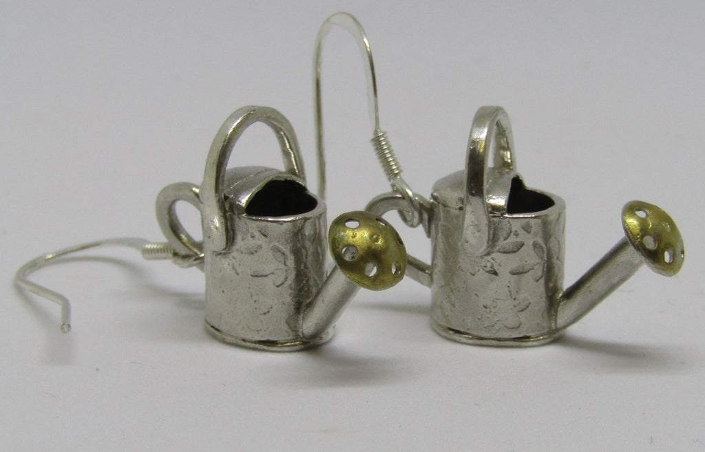 Watering Can Silver and Gilt Earrings by Xuella Arnold