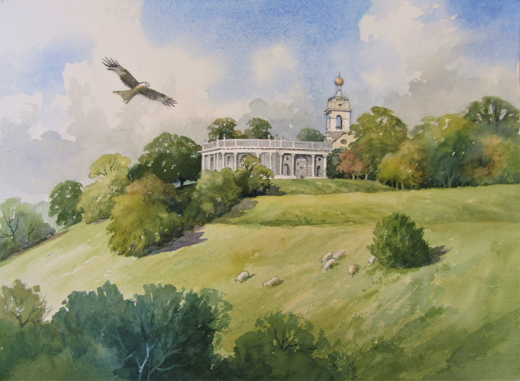 'West Wycombe Mausoleum' - watercolour by Colin Tuffrey