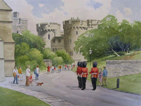 'Windsor Castle and Soldiers' - watercolour by Colin Tuffrey