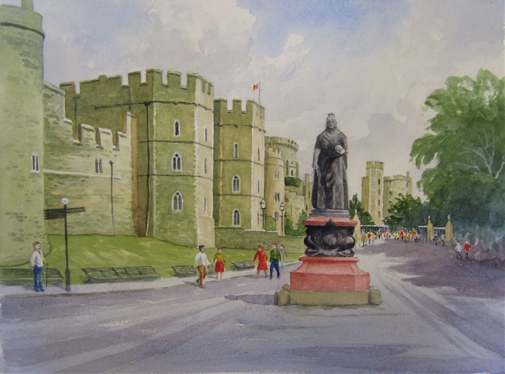 'Windsor, Queen Victoria Statue' - watercolour by Colin Tuffrey
