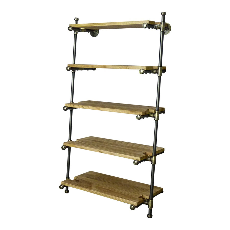 Orlando Farmhouse Industrial  35-Inch Leaning Bookcase