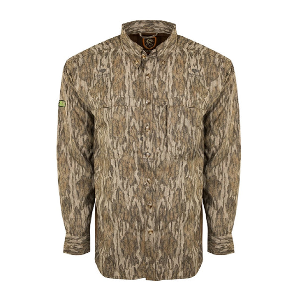 Drake Non-Typical Mesh Back Flyweight Long Sleeve Shirt Mossy Oak Bottomland