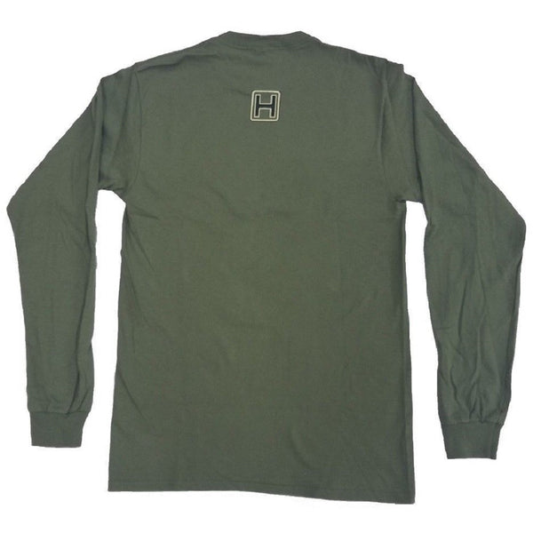Heybo Bar Logo Long Sleeve T-Shirt Olive Back