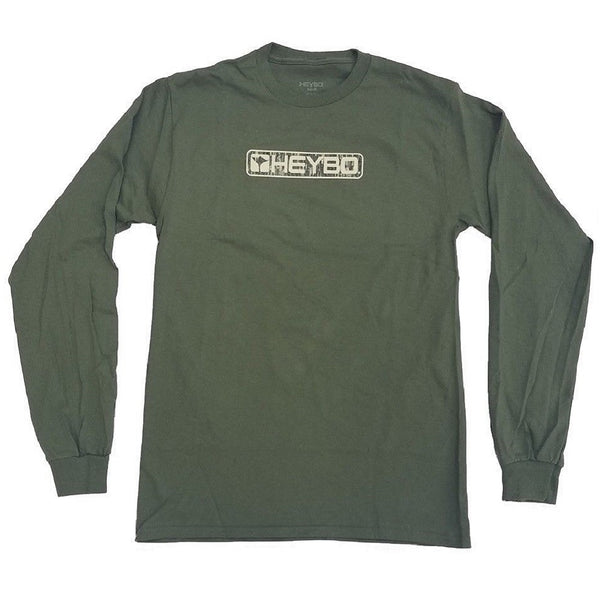 Heybo Bar Logo Long Sleeve T-Shirt Olive Front