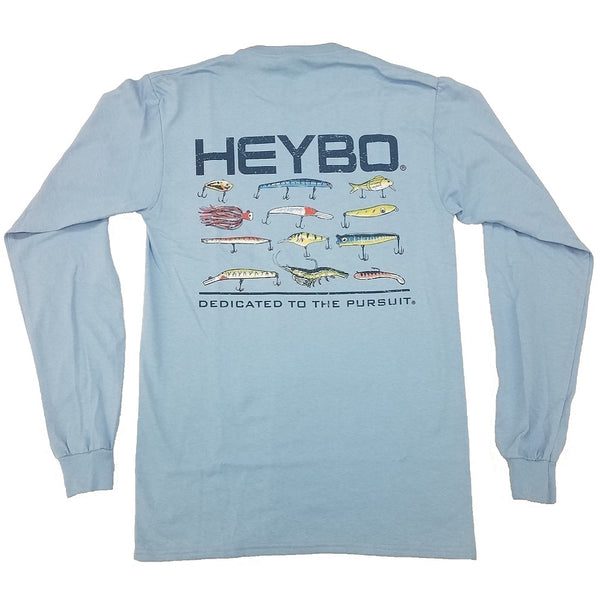 Heybo Inshore Lures Long Sleeve Tri-Blend Light Blue T-Shirt