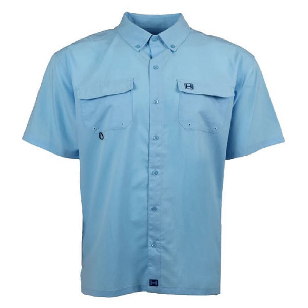 Heybo Boca Grande Short Sleeve Vented Fishing Shirt Azure Blue Front