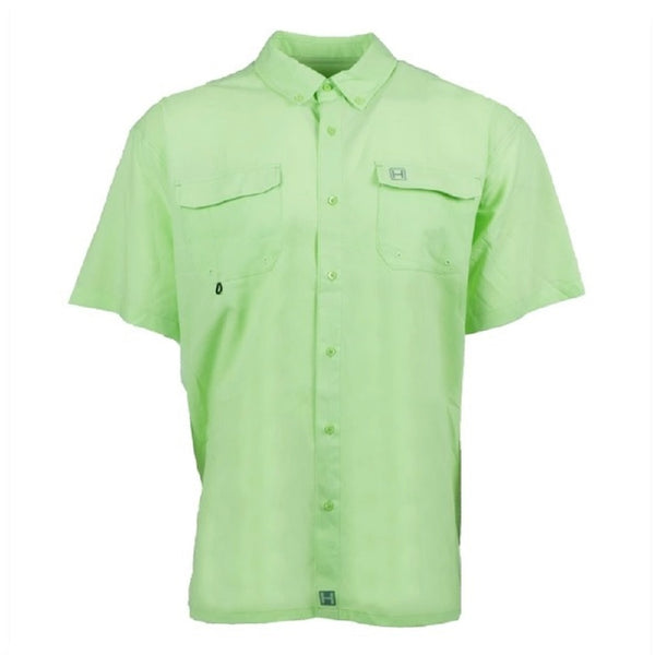 Heybo Boca Grande Short Sleeve Vented Fishing Shirt Patina Green Front
