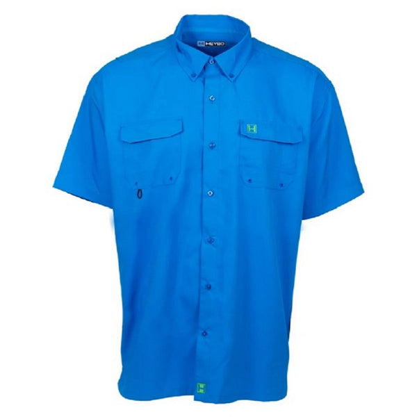 Heybo Boca Grande Short Sleeve Vented Fishing Shirt Ocean Blue Front