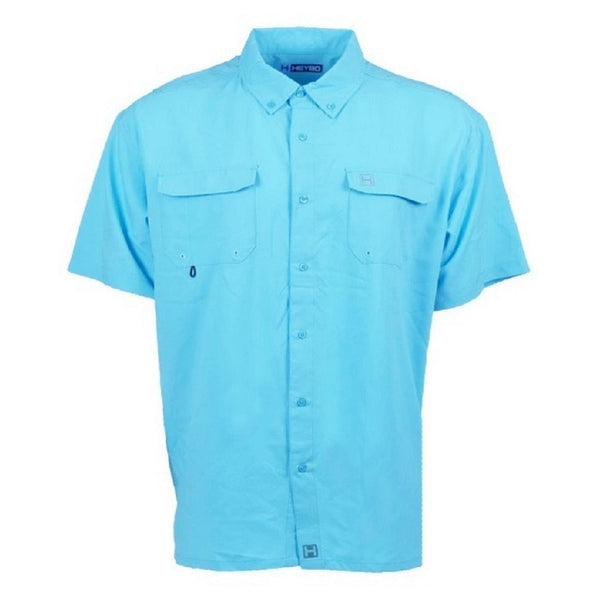 Heybo Boca Grande Short Sleeve Vented Fishing Shirt Seafoam Front