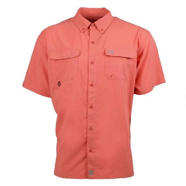 Heybo Boca Grande Short Sleeve Vented Fishing Shirt Coral Front