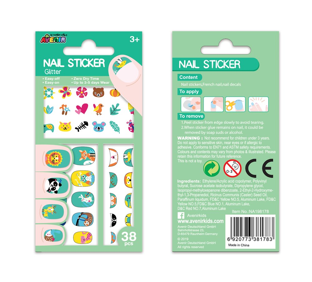 Avenir - Nail Stickers - Glitter Animals