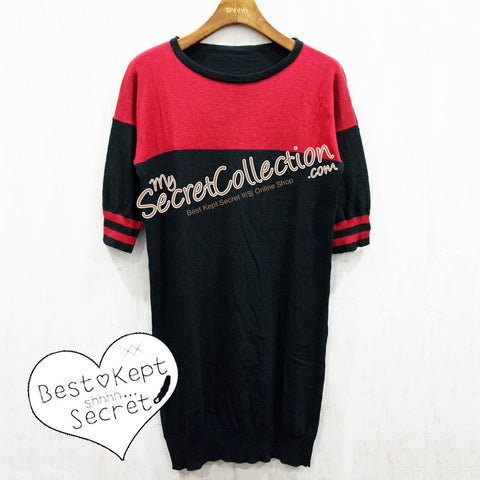 Sweater Rajut Kombinasi Dua Warna - Black Red