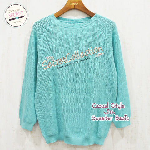Sweater Rajut Basic - Medium Blue