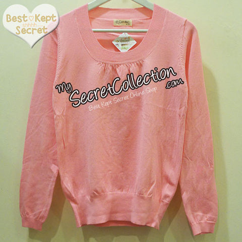 Sweater Rajut Candies O Neck Candy Pink