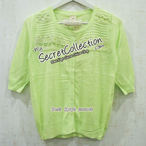 Cardigan Rajut Korea Knit & Co Brukat - Lime