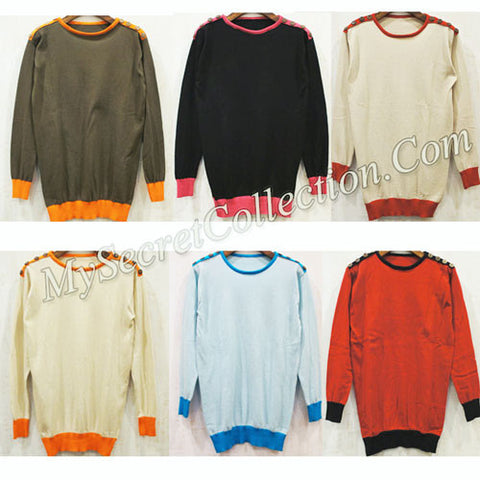 Sweater Rajut Variasi Kancing Bahu - Select Color