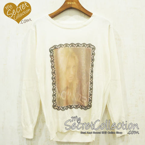 Sweater Knitted Face Collections - Natural White