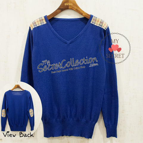 Sweater Rajut V Neck Variasi Motif Burberry - Azure Blue