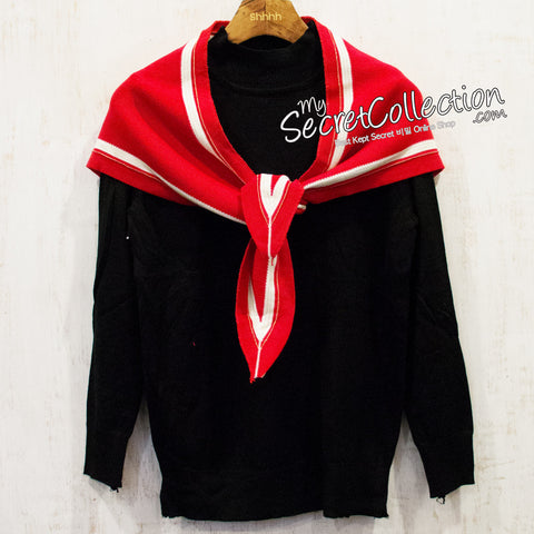 Sweater Turtle Neck Aksen Syal - Chilli Red