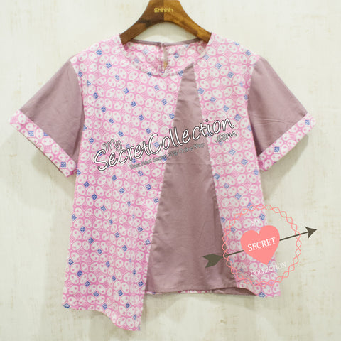 Blouse Denim Motif Batik Elegan - Chocolate