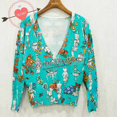 Cardigan Print Green Rabbit - Green Rabbit