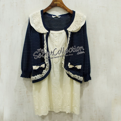 Knit & Co Bolero Ribbon Pearl - Navy Blue