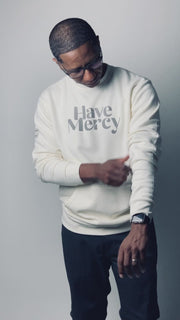 HAVE MERCY POCKET SWEATSHIRT (BONE & CHARCOAL)
