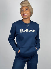 BELIEVE POCKET SWEATSHIRT (MIDNIGHT NAVY & GREIGE)