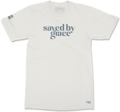 SAVED BY GRACE T-SHIRT (BONE & EASY BLUE)