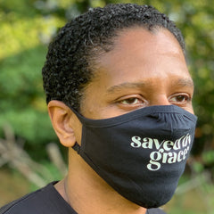 SAVED BY GRACE MASK (BLACK & GREIGE)