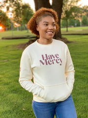 HAVE MERCY POCKET SWEATSHIRT (BONE & MERLOT)