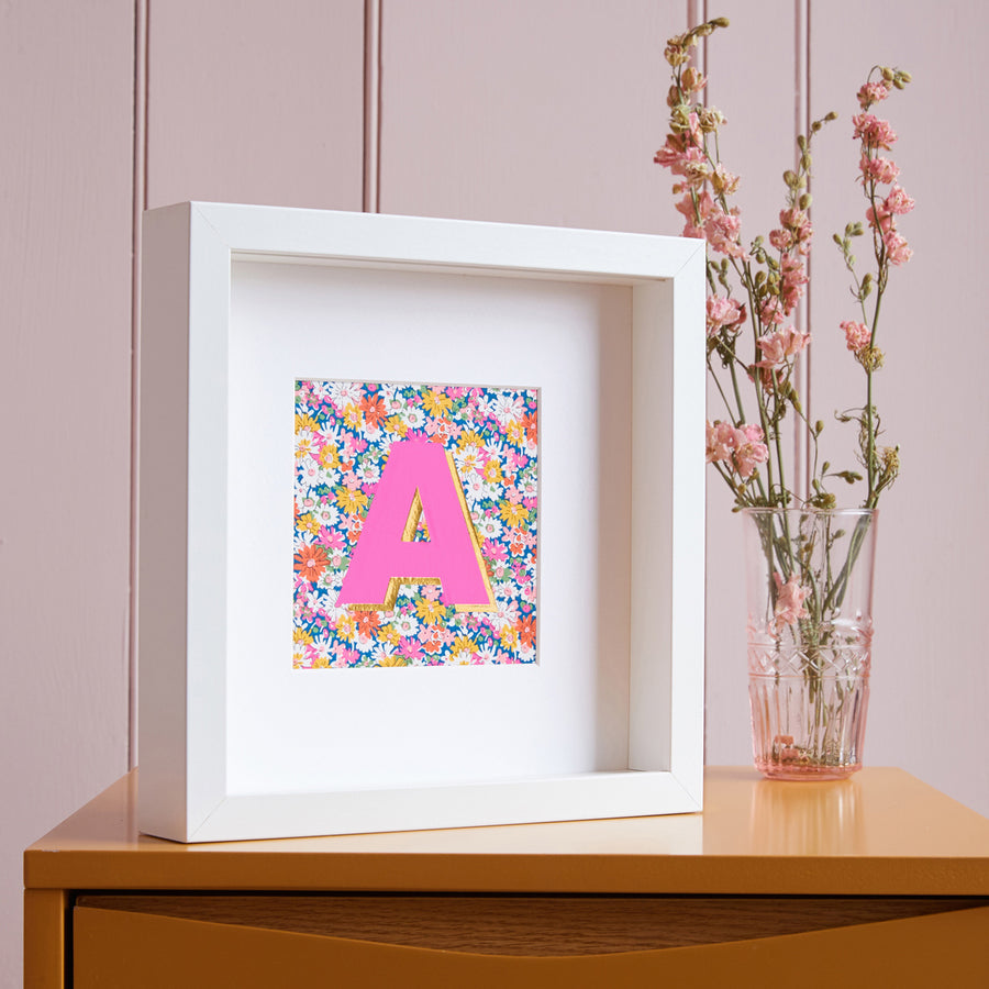PERSONALISED PINK AND YELLOW LIBERTY FRAMED PICTURE