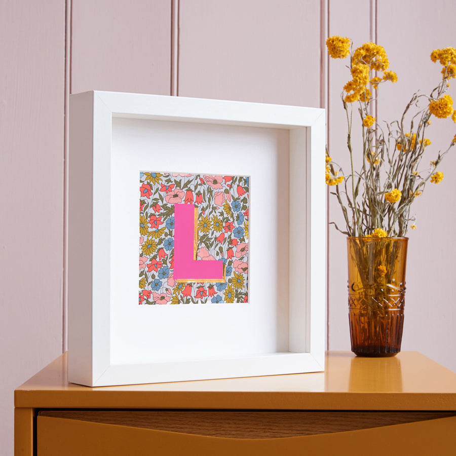 PERSONALISED FLORAL LIBERTY FRAMED PICTURE