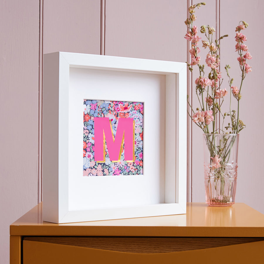 PiNK LIBERTY FRAMED INITIAL PICTURE