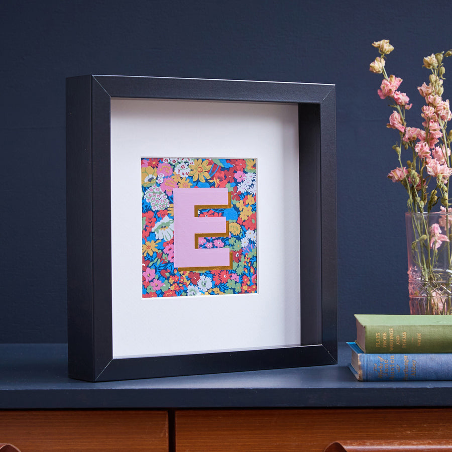 PERSONALISED DARK PINK LIBERTY FRAMED PICTURE