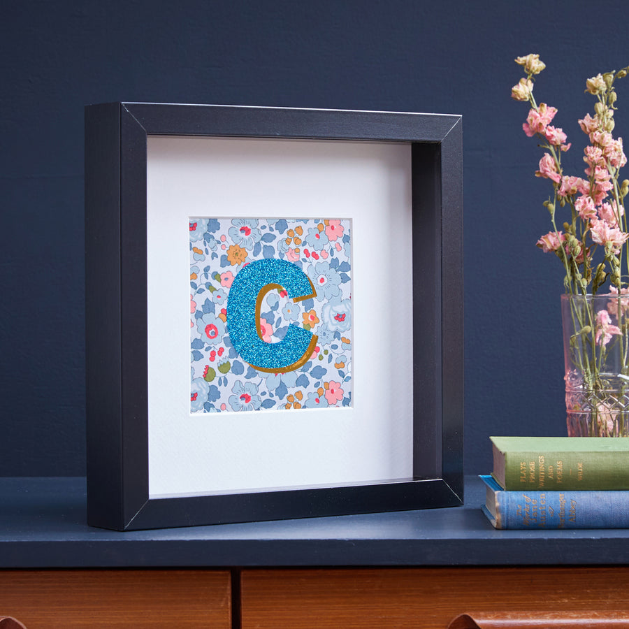 PERSONALISED PALE BLUE LIBERTY FRAMED PICTURE