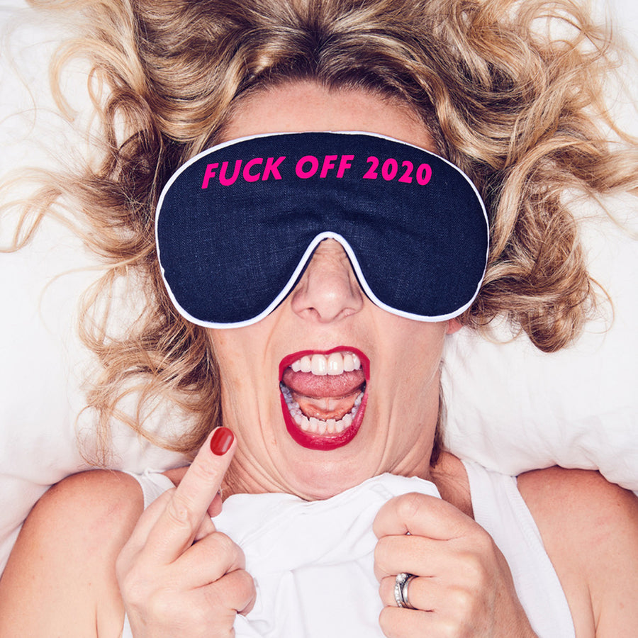 'F**K OFF 2020' EYE MASK - NAVY LINEN