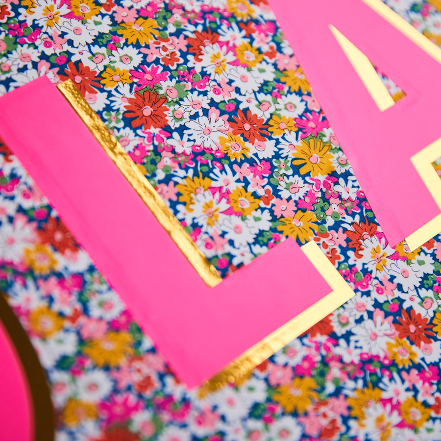 PINK & YELLOW LIBERTY FRAMED INTIAL PICTURE