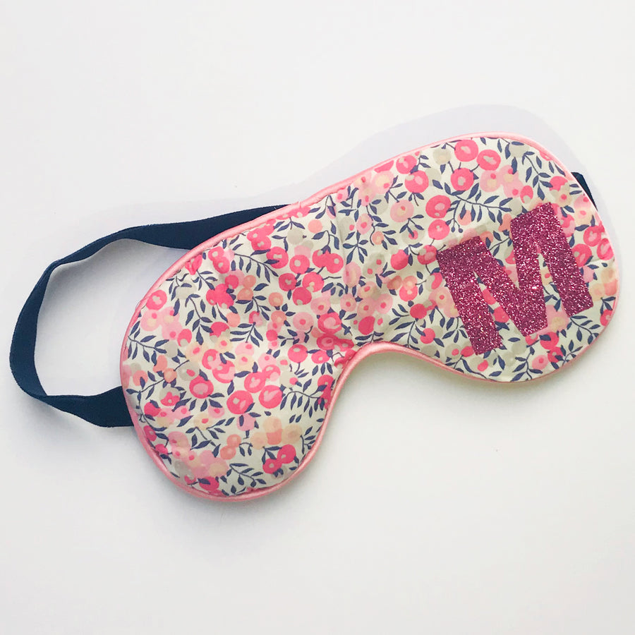 LIBERTY FLORAL INITIAL EYE MASK - PEACH
