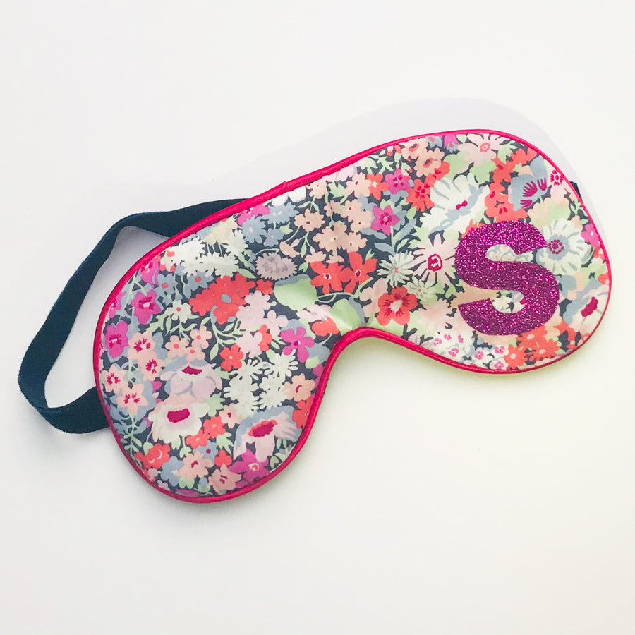 LIBERTY FLORAL INITIAL EYE MASK - PINK