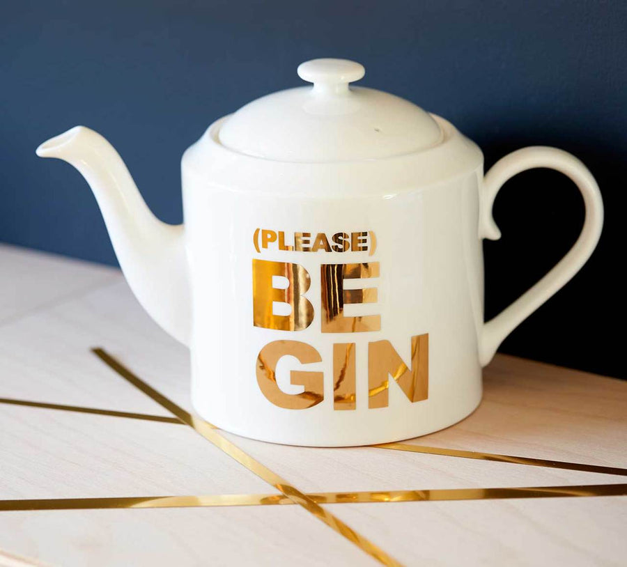 '(PLEASE) BE GIN' GOLD TEAPOT