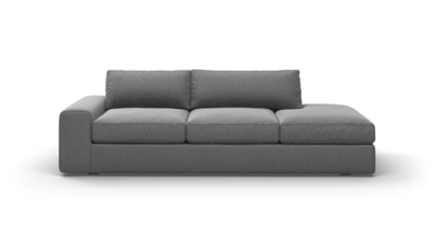 "OG Couch Potato Sofa With Bumper (95"" Wide, Velvet Fabric)"