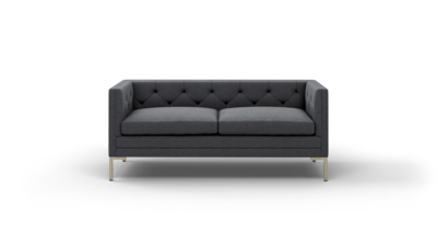 "Sit Tight Sofa (70"" Wide, Leather Fabric, Antique Brass)"