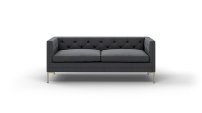 "Sit Tight Sofa (75"" Wide, Leather Fabric, Antique Brass)"