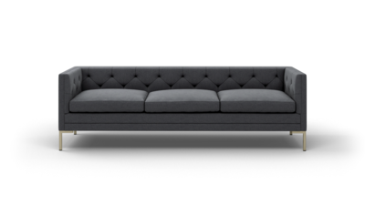"Sit Tight Sofa (95"" Wide, Leather Fabric, Antique Brass)"