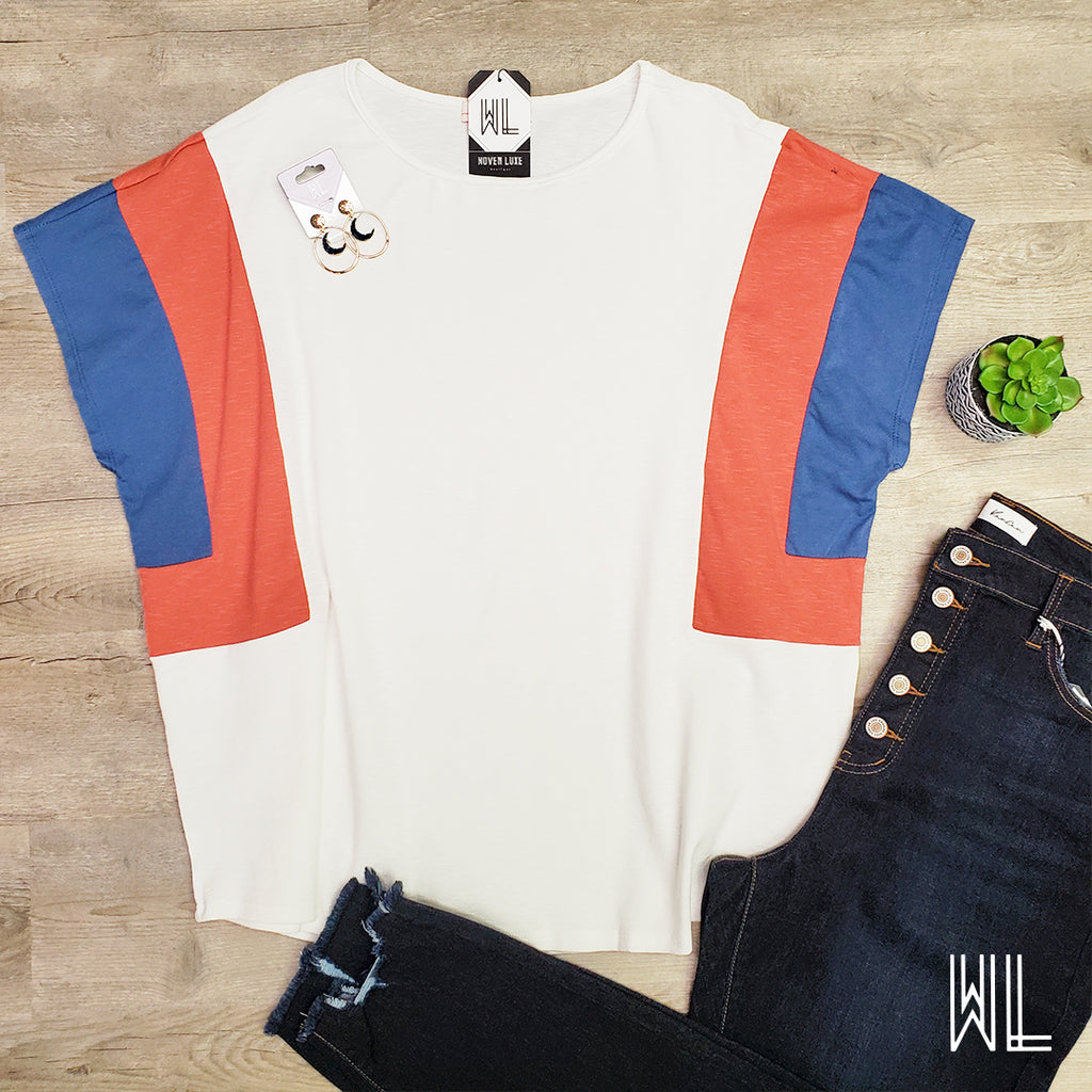White Color Block Sleeve Top