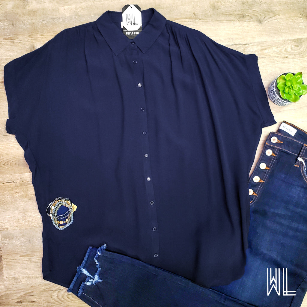 Navy Short Sleeve Button Down Top