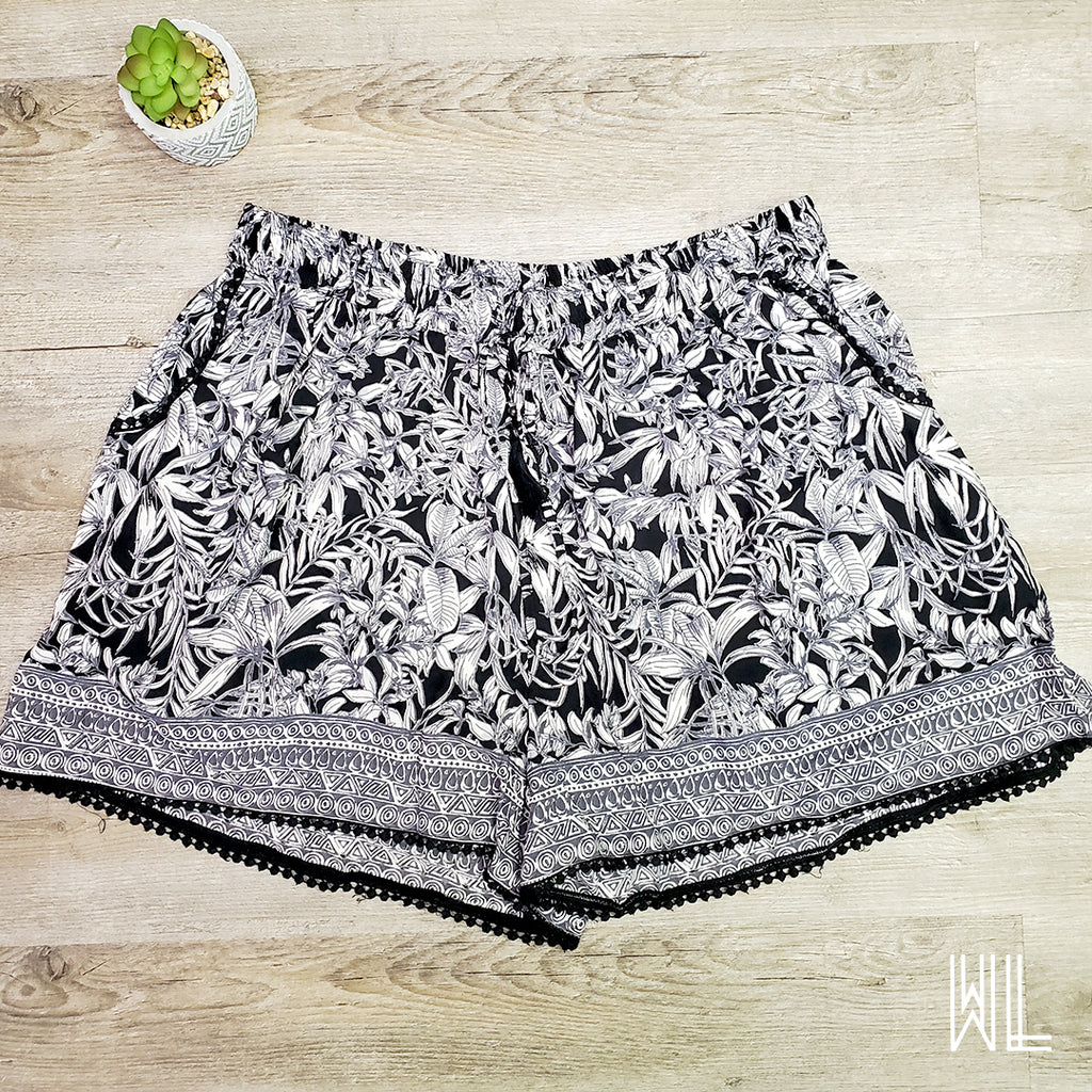 Black + White Floral Print Shorts