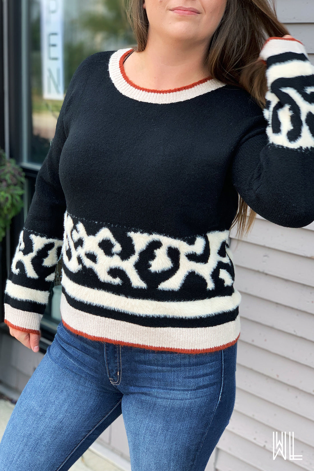 Black Animal Print Sweater